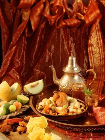 Middle Eastern Meal with Quail, Couscous, Fruit and Tea by Barbara Lutterbeck