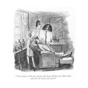 """""""Now, dear, we'll just forget all about Hitler and Mussolini and all our n…"""" - New Yorker Cartoon by Barbara Shermund"""