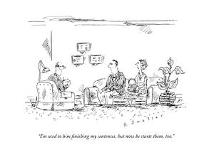 A couple speaks to a therapist.  - New Yorker Cartoon by Barbara Smaller