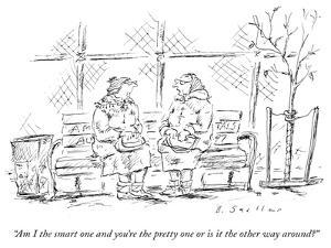 """Am I the smart one and you're the pretty one or is it the other way aroun…"" - New Yorker Cartoon by Barbara Smaller"
