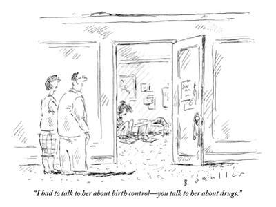 """""""I had to talk to her about birth control—you talk to her about drugs."""" - New Yorker Cartoon"""