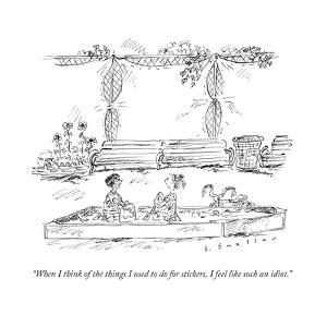 """""""When I think of the things I used to do for stickers, I feel like such an..."""" - New Yorker Cartoon by Barbara Smaller"""