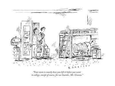"""""""Your room is exactly how you left it before you went to college, except o... - New Yorker Cartoon"""
