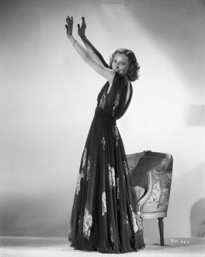 Barbara Stanwyck standing Pose in a Dress Classic Portrait by E Bachrach