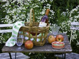 Still-Life with Wine, Cheese and Apples, in the Garden of a House in St. Denis Le Ferment by Barbara Van Zanten
