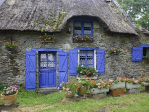 Thatched Cottage with Blue Doors, Windows and Pots of Geraniums Near Marzan by Barbara Van Zanten