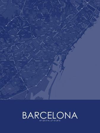 Barcelona, Spain Blue Map