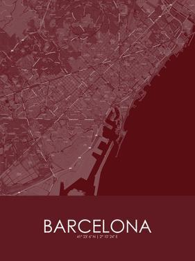 Barcelona, Spain Red Map