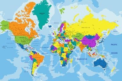 Colorful World Political Map with Clearly Labeled, Separated Layers. Vector Illustration. by Bardocz Peter
