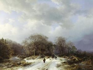 Cart on a Snowy Track by Barend Cornelis Koekkoek