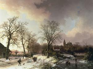 Figures in a Winter Landscape, 1842 by Barend Cornelis Koekkoek