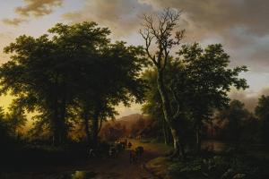 Travellers on a Path at Sunset by Barend Cornelis Koekkoek