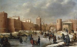 Skaters, Kolf Players, Elegant Ladies and Gentlemen on a Frozen Moat outside City Walls of Kampen by Barent Avercamp