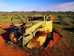 Abandoned Car on Salt Bush Plains Silverton, New South Wales, Australia by Barnett Ross
