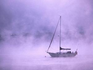 Boat in Early Morning Fog on Saint John River Fredericton, New Brunswick, Canada by Barnett Ross