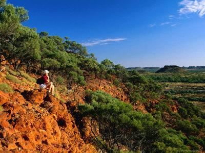 Day-Hiker and View of the Woodstock Hills, Located 95 Kms West of Winton, Queensland, Australia