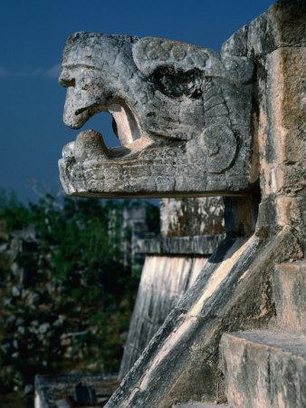 Jaguar Head Carving and Staircase Leading to Portico of Temple of Warriors, Chichen Itza, Mexico