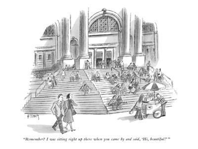 """Remember? I was sitting right up there when you came by and said, 'Hi, be… - New Yorker Cartoon"