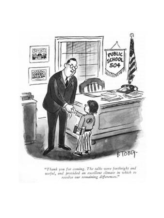 """Thank you for coming. The talks were forthright and useful, and provided …"" - New Yorker Cartoon"