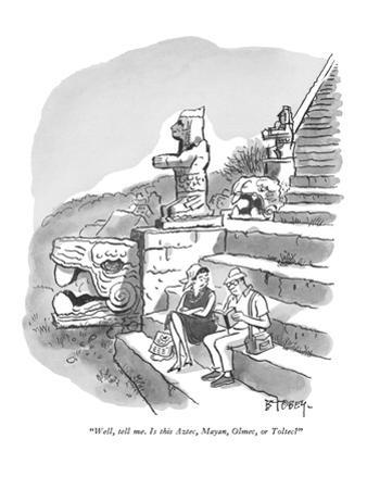 """Well, tell me.  Is this Aztec, Mayan, Olmec, or Toltec?"" - New Yorker Cartoon"