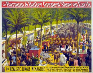 Barnum and Bailey Circus Showing Animals on Display and Performers Beneath Palm Trees. 1897