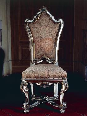 Baroque Style Chair with Upholstered High Back, Carved and Gilt Wood, Soragna Castle