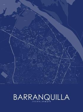 Barranquilla, Colombia Blue Map