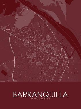 Barranquilla, Colombia Red Map