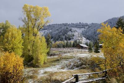 A Farm in the Mountains Is Covered by a Fall Snow by Barrett Hedges