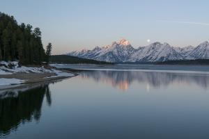 The Moon Above the Grand Tetons at Sunrise by Barrett Hedges