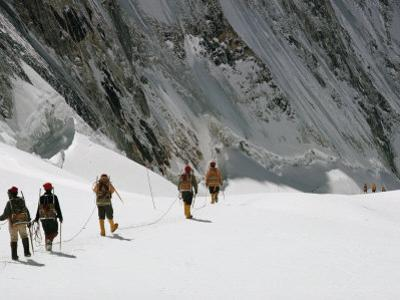 Roped Together, Mount Everest Expedition Members Trek Across a Snowfield by Barry Bishop