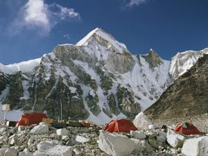 The Mount Everest Expedition Campsite on a Mountain Side Strewn with Boulders by Barry Bishop