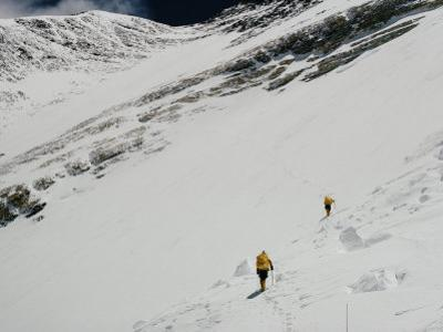 Two Mount Everest Expedition Members Climbing a Steep Mountain Slope by Barry Bishop