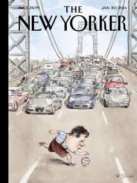 Playing in Traffic - The New Yorker Cover, January 20, 2014 by Barry Blitt