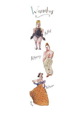 """Three rather burly men in drag, labeled, respectively, """"RuPhil"""", """"RuMurray… - New Yorker Cartoon by Barry Blitt"""
