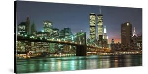 The Brooklyn Bridge and Twin Towers at Night by Barry Mancini