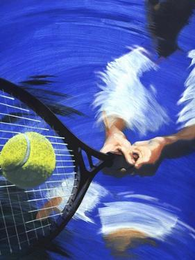 Tennis Player Hitting Tennis Ball by Barry Patterson