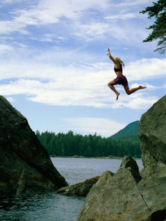 A Climber Freefalls from a Cliff into the Claquot Sound in British Columbia by Barry Tessman