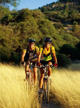 A Couple of Mountain Bikers Ride Along the Dirt Path by Barry Tessman