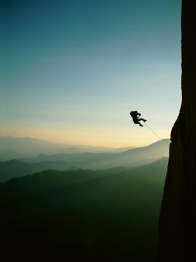 A Rock Climber from the 90 Degree Face of a Mountain Wall by Barry Tessman