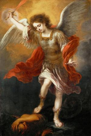Archangel Michael hurls the devil into the abyss. Around 1665/68 by Bartolome Esteban Murillo