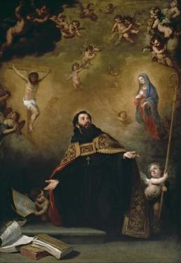 San Agustín entre Cristo y la Virgen, 1663-1664 by Bartolomé Esteban Murillo