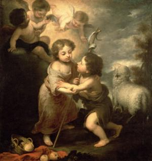 The Infants Christ and John the Baptist by Bartolome Esteban Murillo