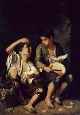 Two Children Eating a Melon and Grapes, 1650 by Bartolome Esteban Murillo