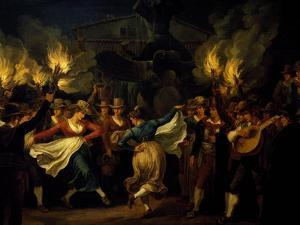 Dancers, Detail from Nocturnal Dance in the Piazza Barberini in Rome after the Harvest by Bartolomeo Pinelli
