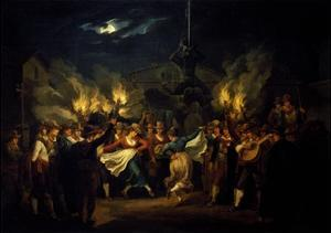 Nocturnal Dance in Piazza Barberini after Harvest by Bartolomeo Pinelli