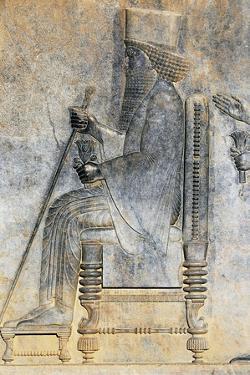 Bas-Relief of Hearing of King Darius I Sitting on Throne, Treasure Room, Persepolis
