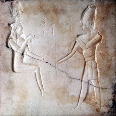 Bas-Relief Showing the Gods Isis and Osiris, Ptolemaic Period, Ancient Egypt, 323-30 BC