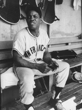 Baseball Player Willie Mays During Giants-Braves Game
