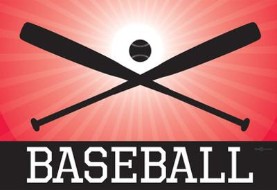 Baseball Red Sports Poster Print